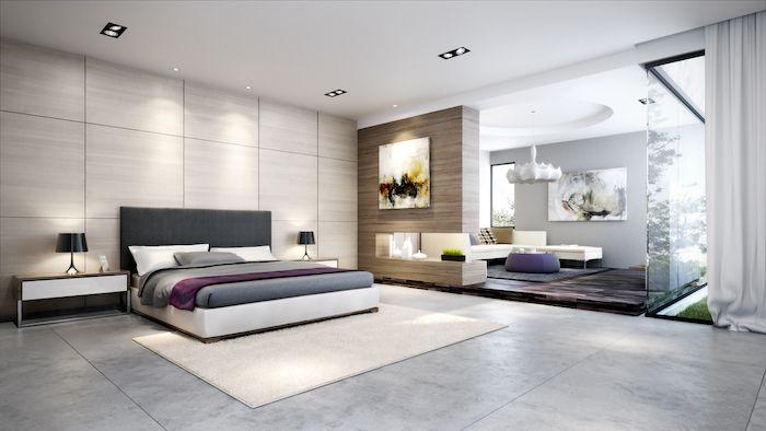 Master Bedroom Decor Wooden Walls Grey Granite Floor White Carpet Dark Grey Headboar Modern Master Bedroom Contemporary Bedroom Design Contemporary Bedroom