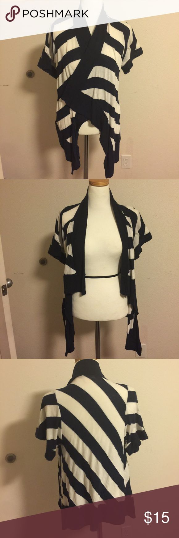 Kimono style Cartigan Striped Cardigan. Blue and white. Used. Good Condition. Tops