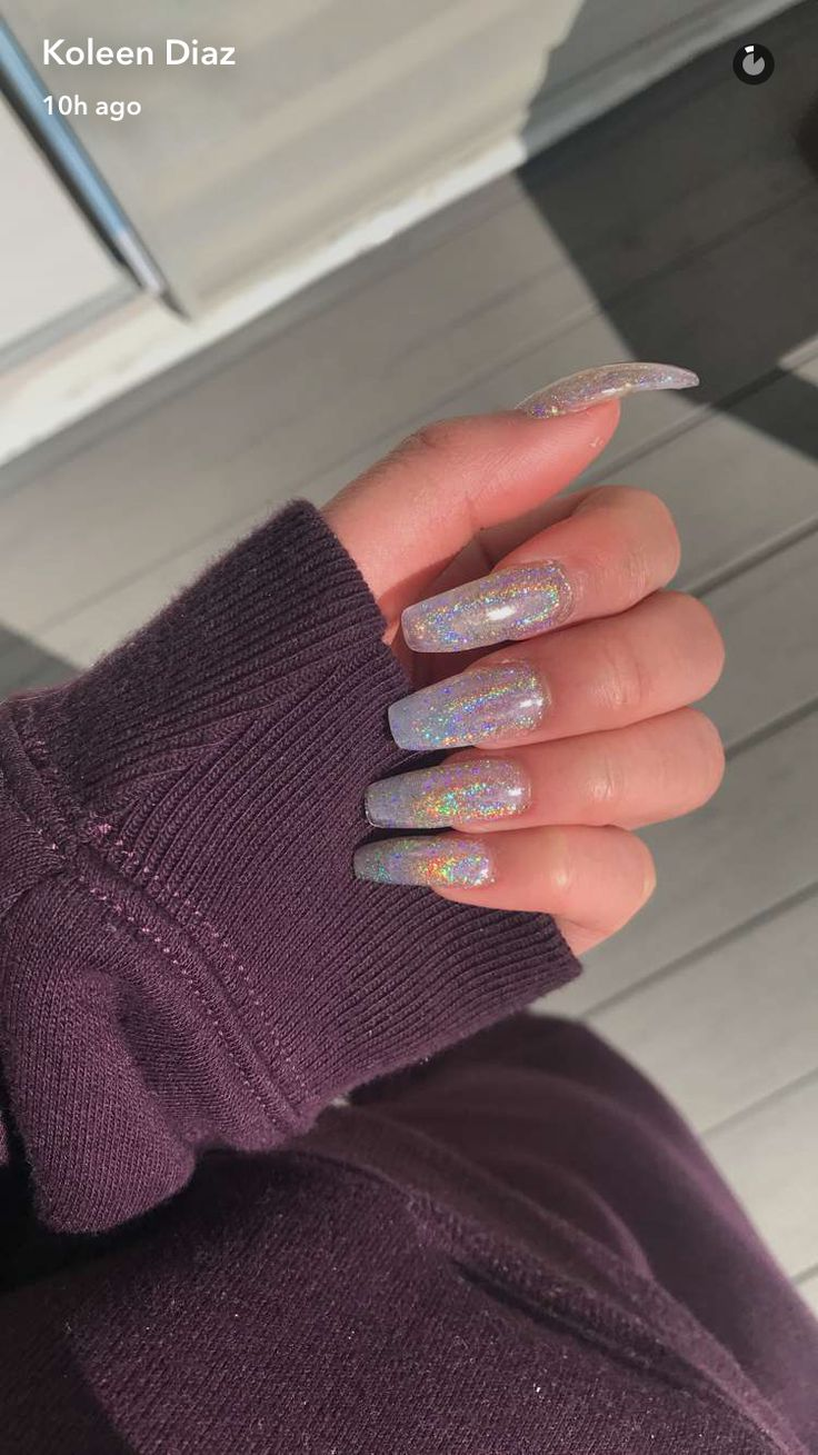 Chrome Glitter Acrylic Nails @koleendiaz