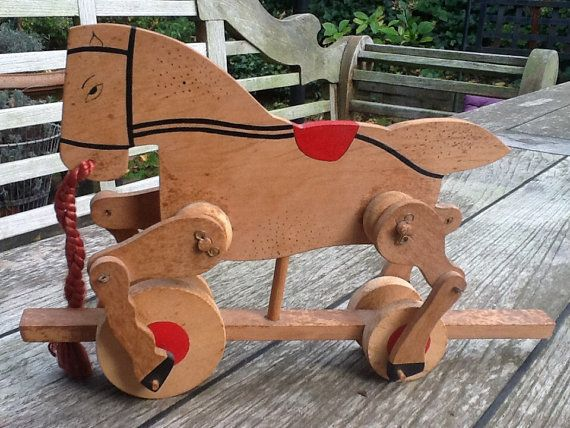 Wooden horse on wheels. by CONTRASTES on Etsy
