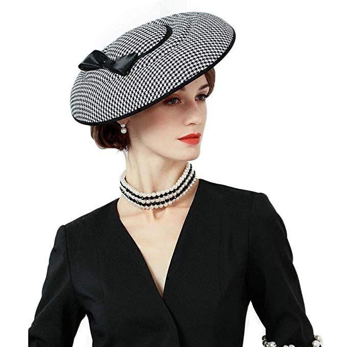 FADVES Women Dress Sinamay Fascinator Hat Cocktail Party Church Wedding Tilt Hats