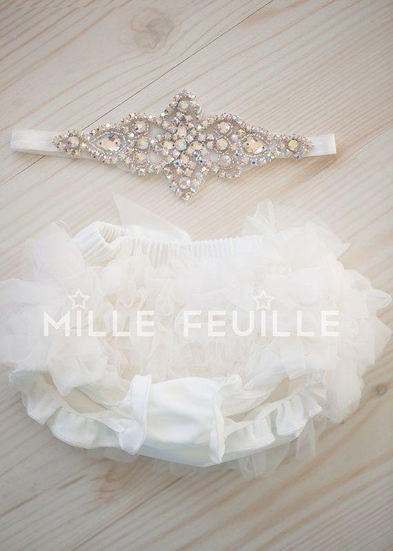 Tutu Bloomers Ivory & AB crystal Crown by VintageStyleBabyShop