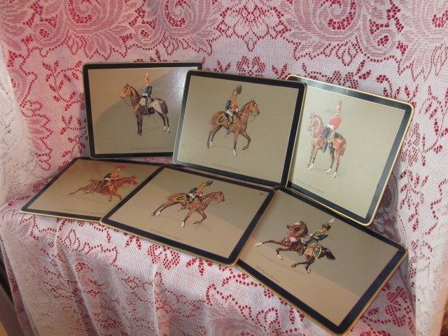 Traditional Placemats Wood Felt on Back  Set of six Soldiers on Horses England