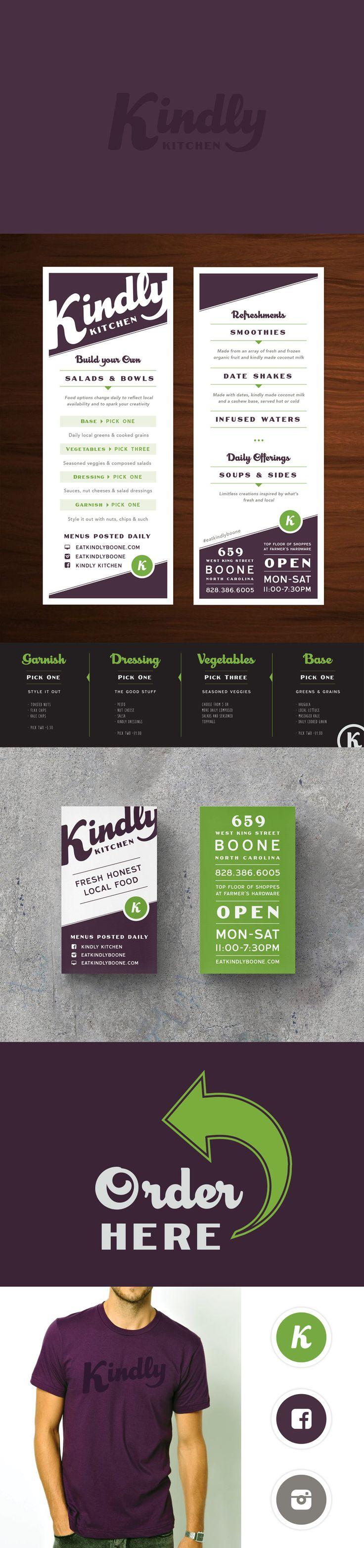 Kindly Kitchen Vegan Restaurant ~ Branding & Design by Snow in July Designs #logodesign #branding