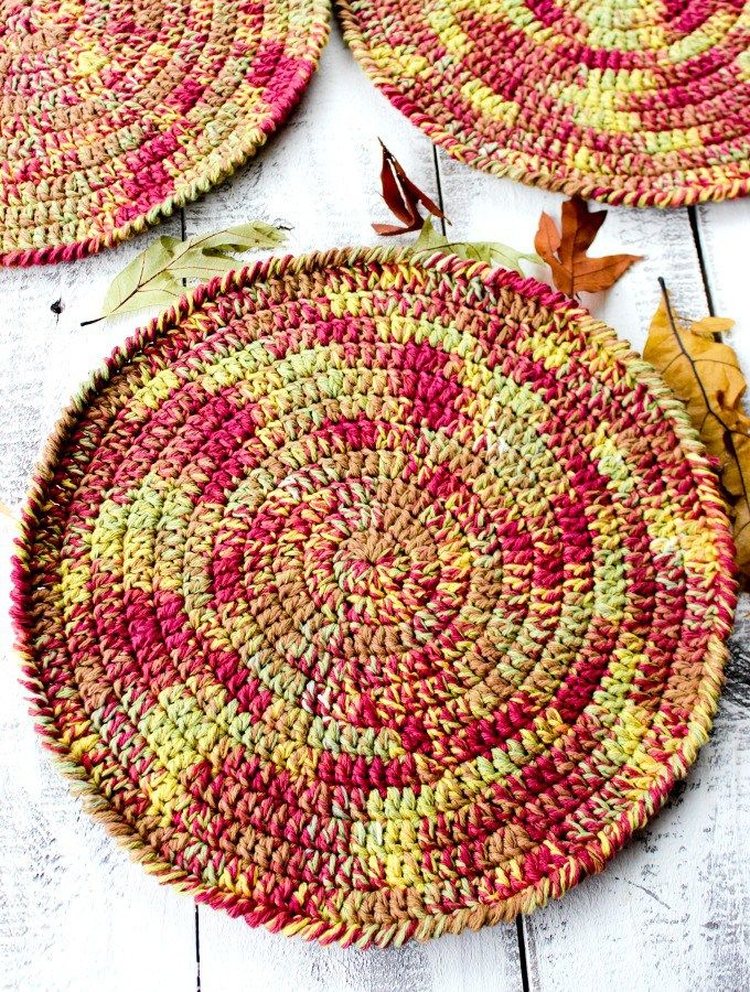 This is one of our Tuesday PIN-spiration Link Party Featured Favorites:  Autumn Placemats Free Crochet Pattern  Designed by Olives & Okra Yarn: Lily Sugar'N Cream Yarn, 5.5 mm (I) crochet hook  A super festive and super easy project to make to add a little Fall Color to your table!  Check out our other Features here: https://www.pinterest.com/stitchinmommy/tuesday-pin-spiration-features-and-favorites/