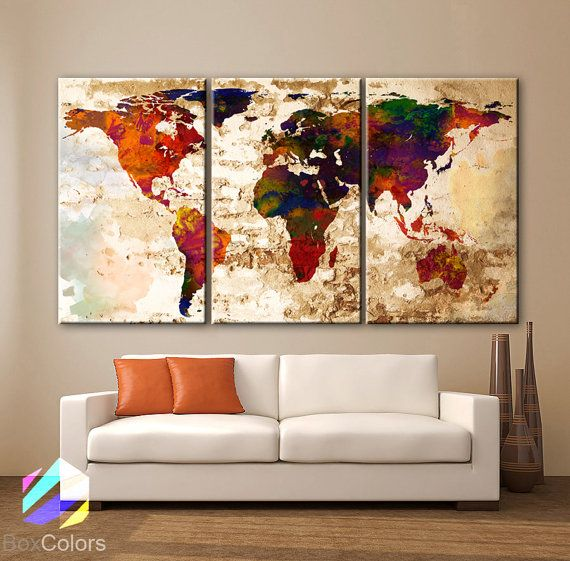 GROTE 30 x 60 3 panelen Art Canvas Print aquarel door BoxColors