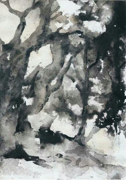 Fuochi sulla collina-ink on canvas-cm 21x29