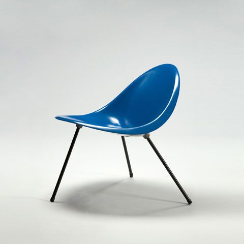 Poul Kjærholm, Denmark, 2007 Molded aluminum tripod chair in blue. Original design, 1953. Current Limited Edition of 25 plus 8 APs produced by Sean Kelly Gallery and R 20th Century, Denmark.
