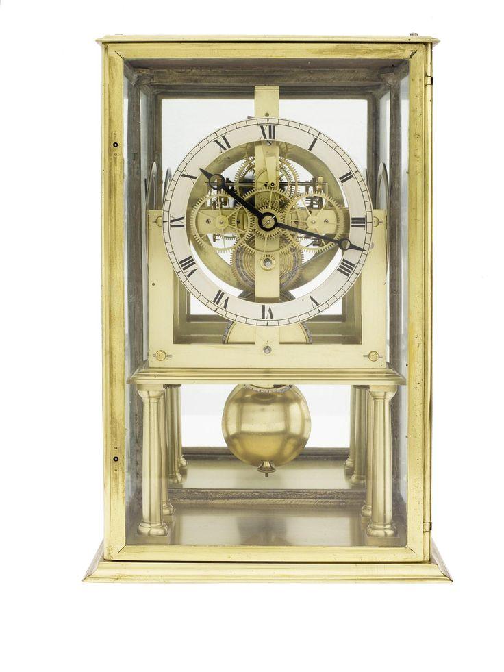 Three-face skeleton clock in a glazed case, by James Clark, Edinburgh, 1828, made for Cape Wrath Lighthouse