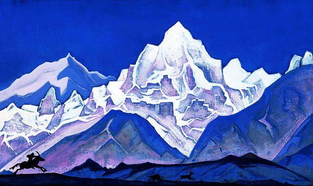 Chasse (2), 1937 de Nicholas Roerich (1874-1947, Russia)