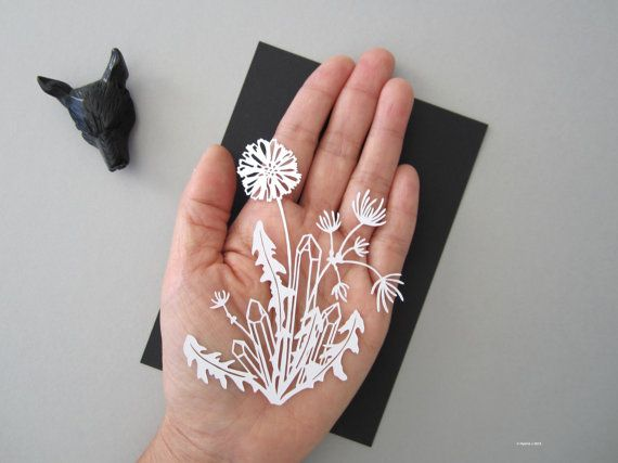 MINI Magical Flower and Crystals Papercut  Dandelion by HybridJ