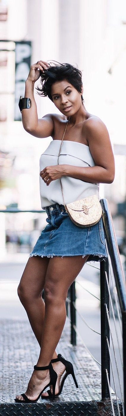 Summer Friday // Silk Strapless top Kenneth Cole ,  Skirt Levis ,  Heels Windsor Store ,  Handbag Gianny Fernandez // Fashion Look by Kyrzayda