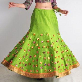 Lime Green Gota Ghaghra
