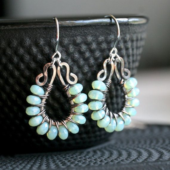 Handmade green wire wrapped earrings, oxidized copper, mint green, Czech glass, beaded, dangle, tear drop, Mimi Michele Jewelry