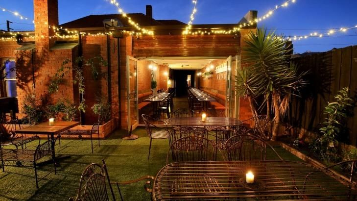 Fairy lights and smoked steaks: The outside area at Le Bon Ton, Collingwood.