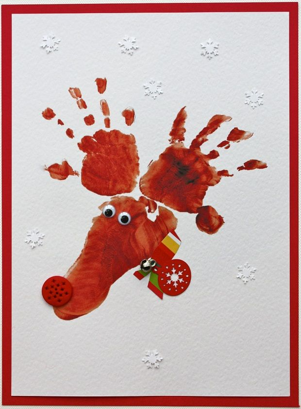cute idea for children to make for grandparents : Hand Footprint Reindeer Cards