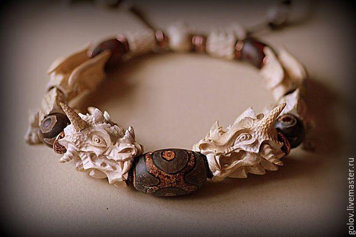Купить Мужской браслет Сила Дракона - резной браслет, браслет из дерева, самшит, агат