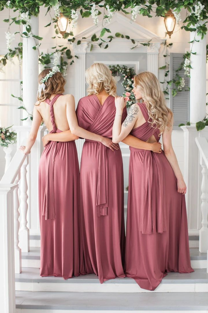 KIDS Nude Pink Bridesmaid Convertible Dress Infinity Dress
