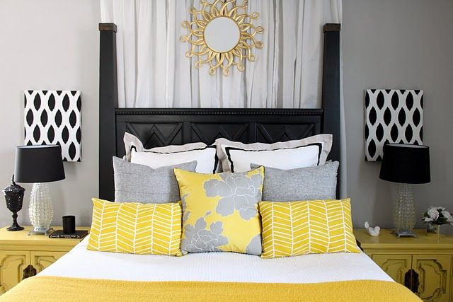 This pic inspires me on the colors I want for my bedroom. Grey walls, yellow/white/grey bed spread, and black bedroom furniture!
