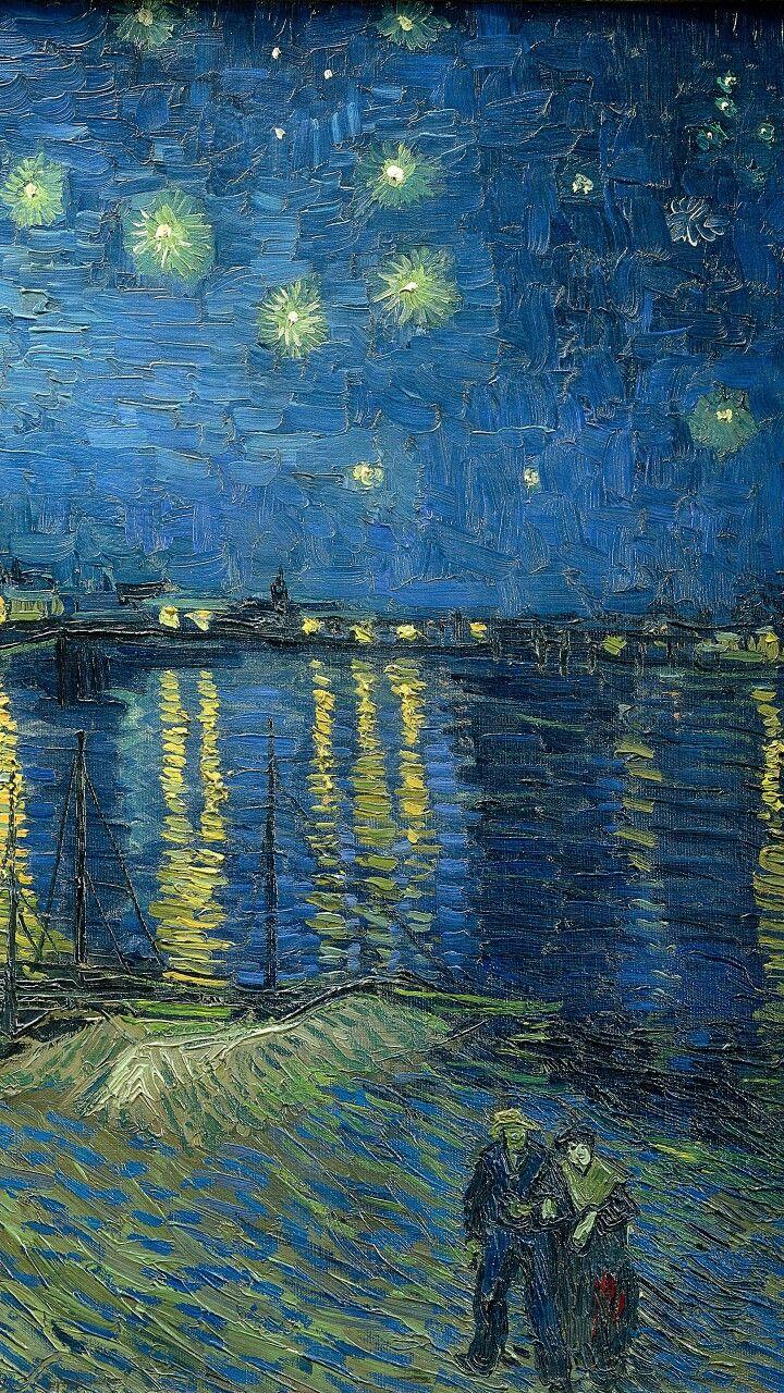 梵高名画塞纳河畔的星夜1888 Pdl名画长廊 Famous Painting Iphone