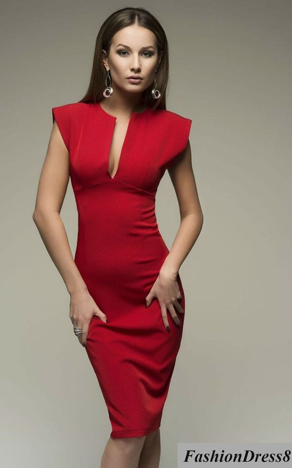 Red Dress-Chic Pencil Knee Length Sexy Women's by FashionDress8