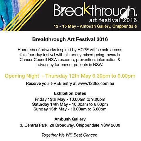 #BreakthroughArtFestival is opening this Thursday night 6:30-9pm at @ambushgallery  The exhibition will feature hundreds of #hope inspired artworks, each to be sold anonymously for $150 each, with all money going to @ccnewsouthwales  to fund world class research, prevention programs, advocacy and information & support programs for those affected by cancer. Invest in a little art and help save lives!  To reserve your free opening night ticket visit…