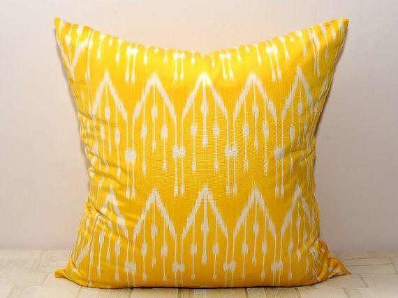 20x20 yellow ikat ikat pillow cover yellow cushion by SilkWay, $24.69