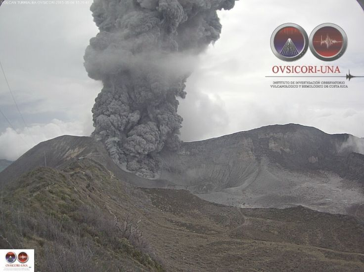 4 May 2015.  Ash falling from Volcán Turrialba's eruption Monday results in temporary airport closure.