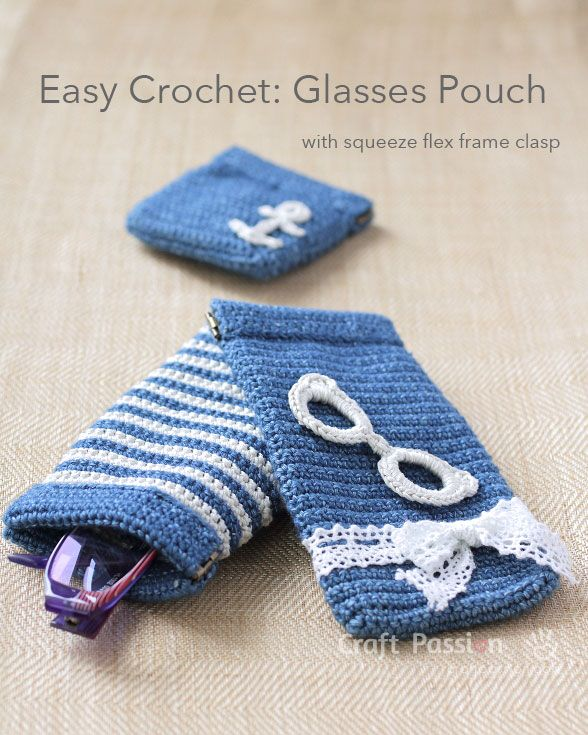 Glasses Pouch By Joann.L - Free Crochet Pattern - (craftpassion) ☂ᙓᖇᗴᔕᗩ ᖇᙓᔕ☂ᙓᘐᘎᓮ http://www.pinterest.com/teretegui