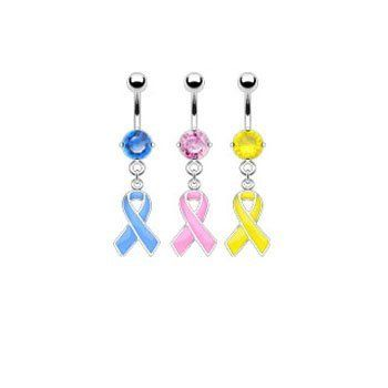 Navel ring with dangling colored ribbon, yellow Ms.Piercing Belly Button Ring. $6.99. priced individually. 5mm top ball. Material: 316L surgical stainless steel, implant grade. cubic zirconia. Gauge: 14