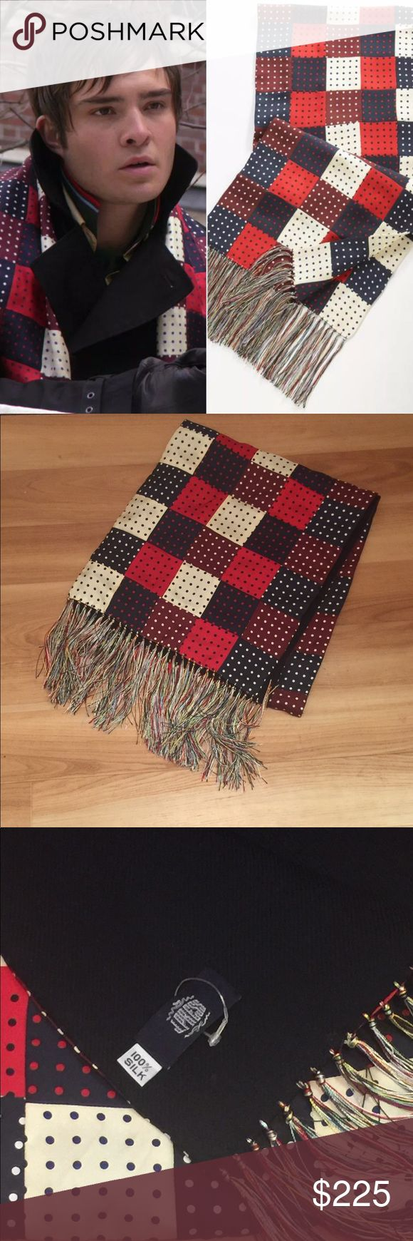 """J. Press Silk red navy patchwork scarf Chuck Bass Hey upper east siders! For sale is a gently used J. Press silk scarf -- the iconic patchwork/plaid scarf seen on Chuck Bass in multiple episodes of Gossip Girl! Excellent condition. Original retail is $325 but I am open to offers! 100% Silk. 13"""" x 60"""" (without fringe). Hand Made. Please check out my other listings for more great Gossip Girl items! J. Press Accessories Scarves"""
