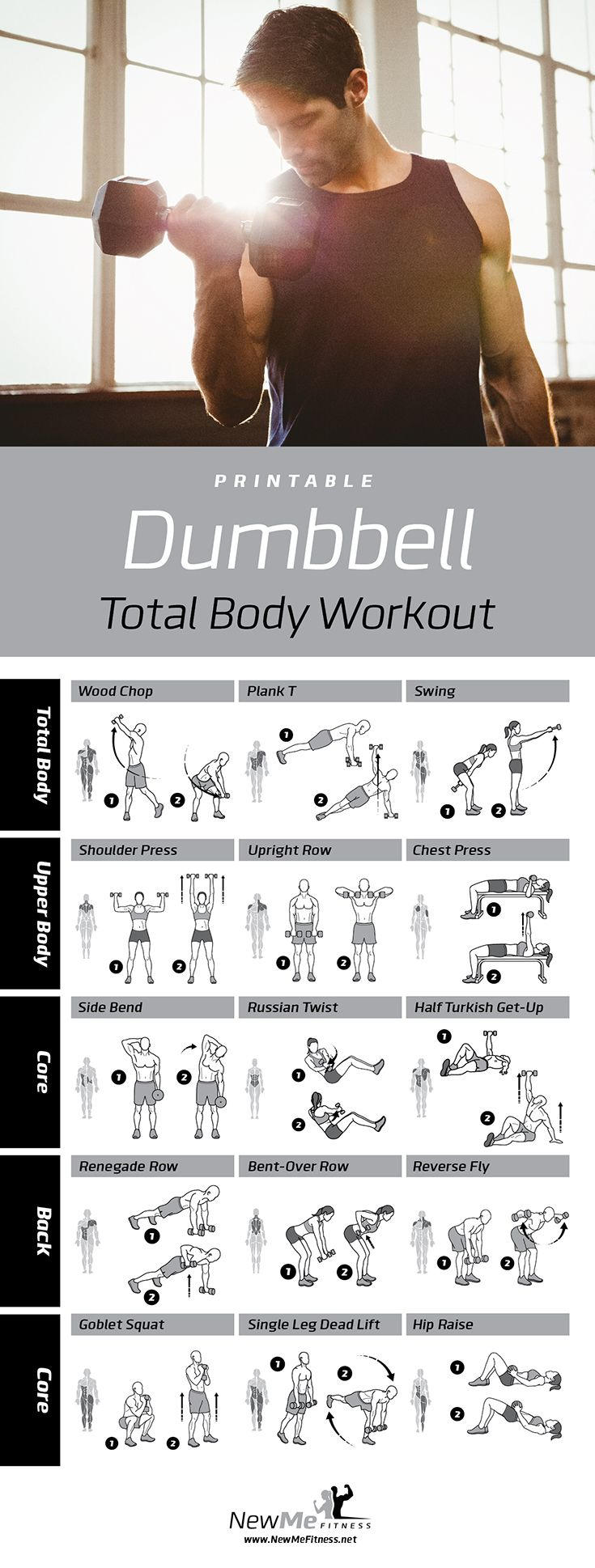 Dumbbell workout for all your major muscle groups. Build your dream body!