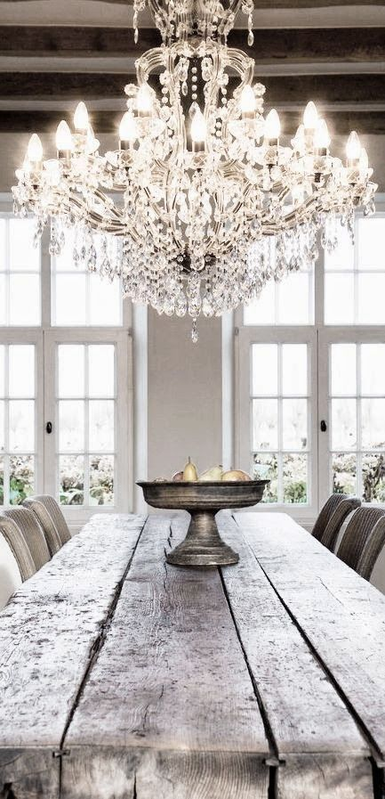 Wonderful Chandelier And Wood Table.Love The Contrast Of The Elegant, Refined  Chandelier And The Rustic Wooden Table! Good Ideas
