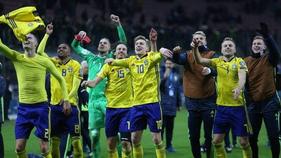 Swedish soccer players totally demolish set on live TV after qualifying for World Cup