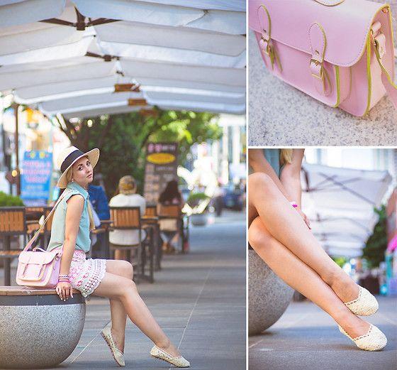 Oasap Lace Flats, Persunmall Bag, H&M Hat, Miss Selfidge Skirt, Vince Blouse