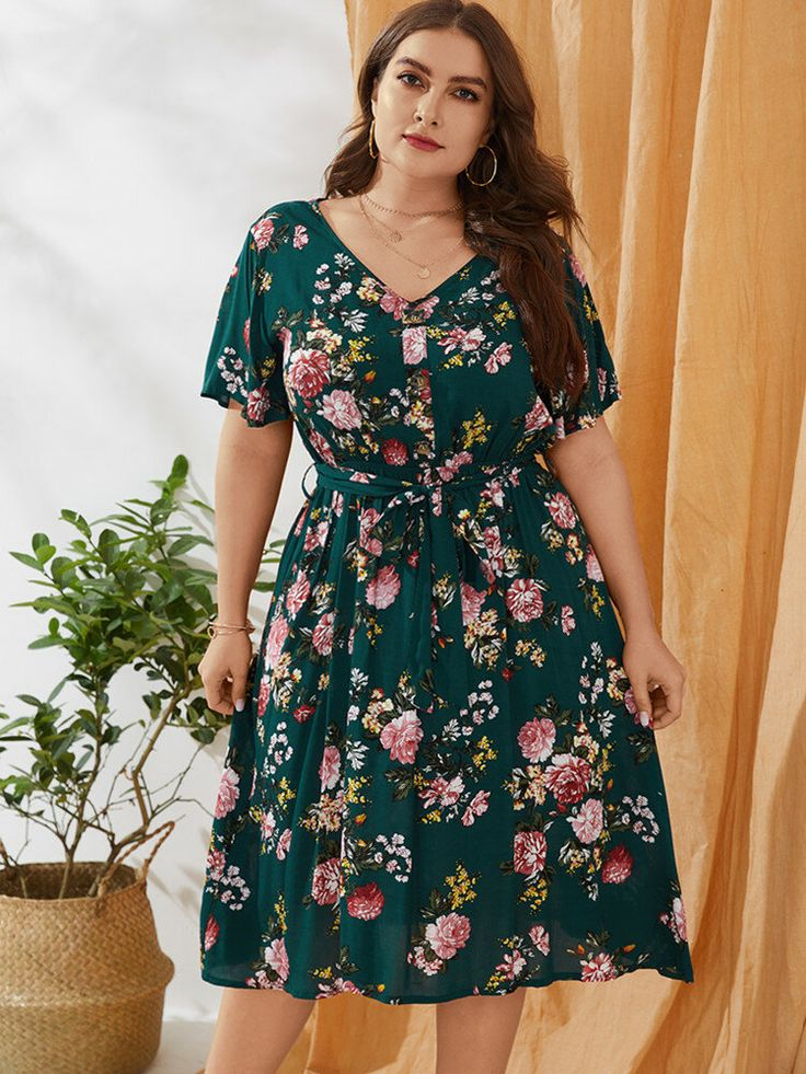 Vintage Floral V-neck Short Sleeve Plus Size Knotted Dress for Women | Plus size fashion for women, Dresses, Womens dresses