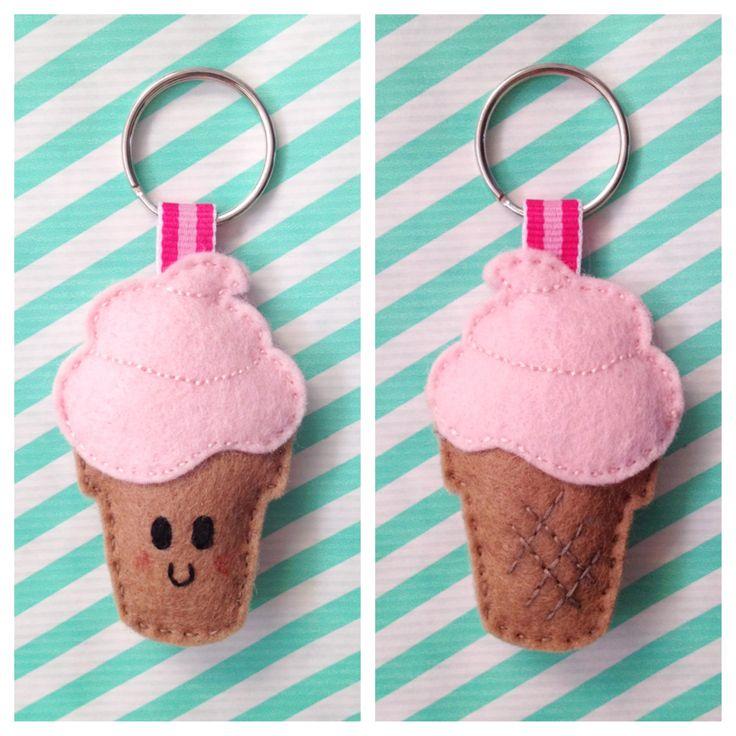 Kawaii felt ice cream keychain