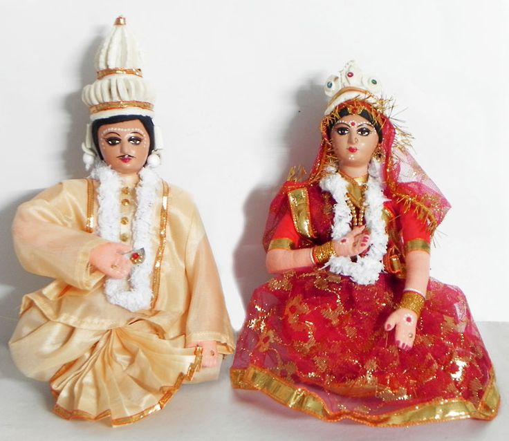 Bride and Bridegroom from West Bengal, India - Costume Cloth Dolls