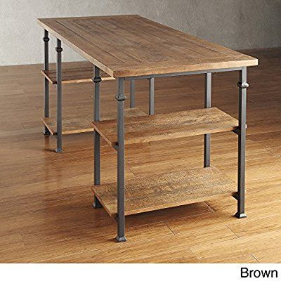 Industrial Desk Rustic Wood And Metal Storage Desk with Shelves For The Home or Office Included MousePad (Brown)