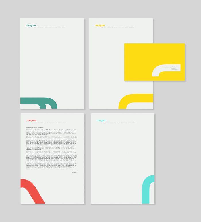 Muyum identidad coporativa para marca de comida para niños. Branding identity for children brand, food for kids. Designed by Tatabi, Elena Sancho.