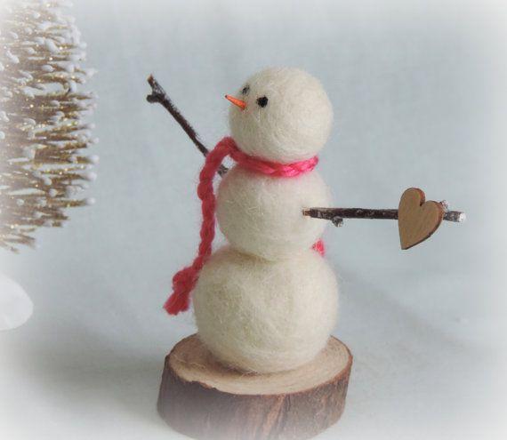 Valentine Snowman Handmade Wool Snowman Needle Felted Etsy Valentine Miniature Snowman Bright Pink Scarf
