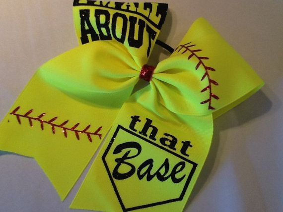 Softball Bow All About That Base Bow Yellow Cheer by PizazzBows