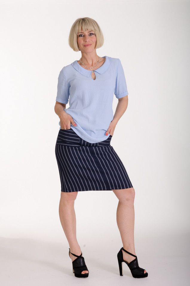 Summer viscose shirt in chambray, worn with Vesta stripe pocket skirt | Made in New Zealand by Moa