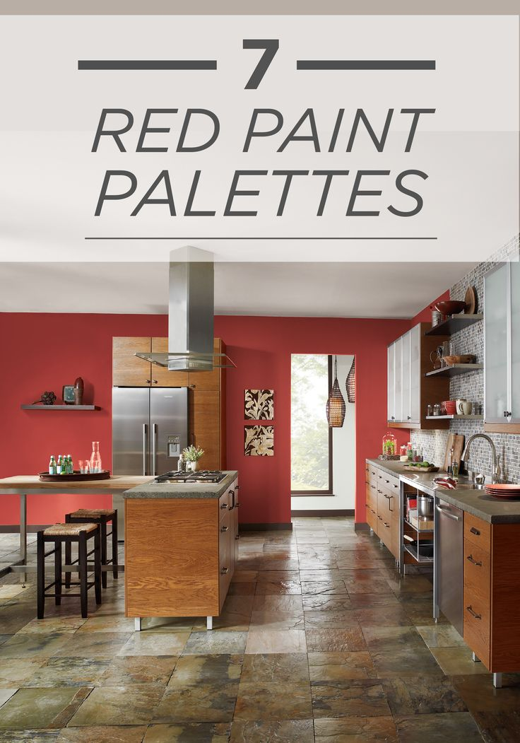 Behr paint in raging bull red creates a spicy backdrop to for Colour choice for kitchen