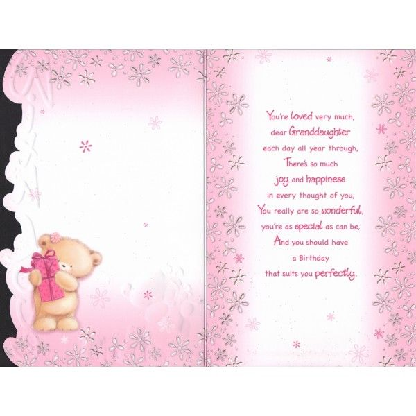 Birthday Card For Granddaughter Verse Birthday Poems For