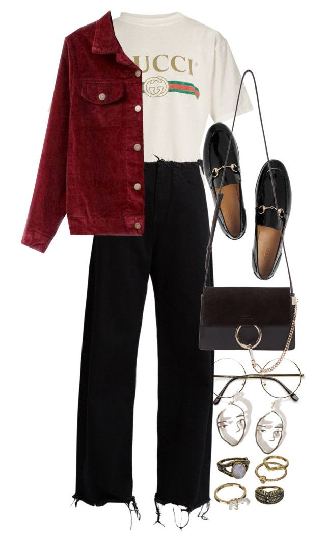 """Untitled #10149"" by nikka-phillips ❤ liked on Polyvore featuring Gucci, Marques'Almeida, Chloé and Mudd"