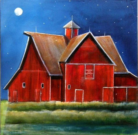 Sept 1 OLD RED BARN NIGHTTIME MOON ORIGINAL PAINTING, painting by artist Toni Grote