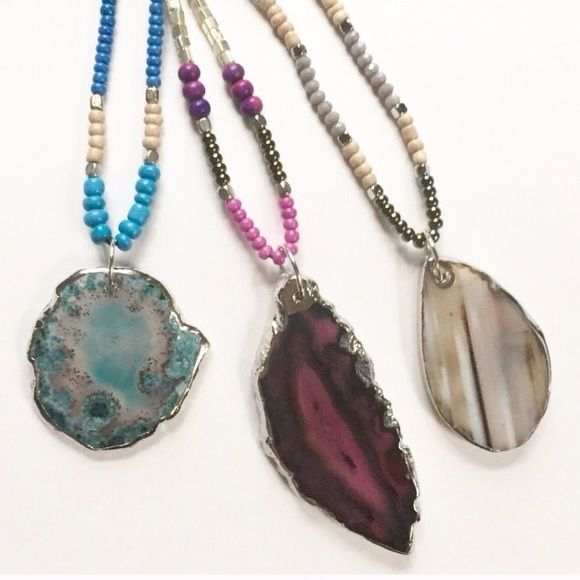 "Shop Women's size Various Necklaces at a discounted price at Poshmark. Description: Beautiful Agate pendant necklace. Select your choice at checkout. Choices are: Blue Moss Agate slice pendant with Silvertone plating, deep Fuschia Agate slice pendant with Silvertone plating or the Taupe/gray/brown Agate slice pendant with Silvertone plating. Necklace measures 24"" L with the pendant varying from 2.5"" - 3"" L. Price is firm unless bundled. 😊. Sold by hrv_boutique. F..."