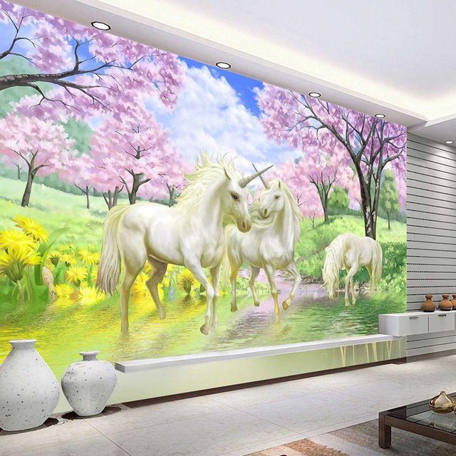 D Custom Photo Wallpaper Unicorn Sakura Wallpaper Fantasy Wall Murals Bedroom Childrens Room Art Room Decor Coffee Shop H Art Wallpaper Room Decor