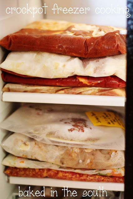 Freezer-to-crockpot meals, including shopping list, great ideas!